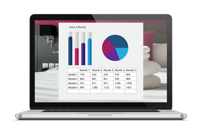 A laptop showing a screenshot of the Hotel Simulation from SmartSim